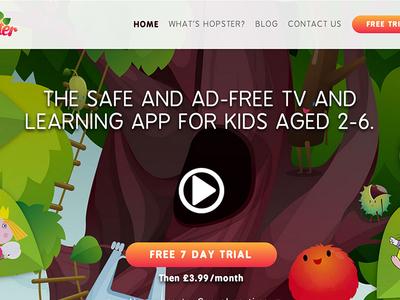 Hopster.tv web design landing page clean flat ui kids tv