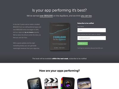 Landing page for upcoming book launch  app design landing page book front cover appstore iphone ipad ios