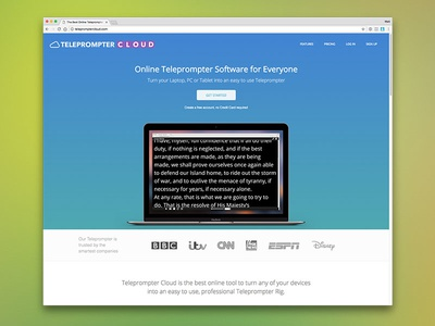 Marketing Site for Teleprompter Cloud landing page marketing site
