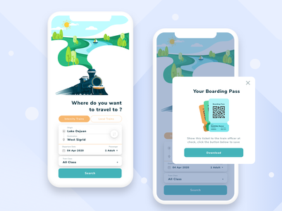 Let's travel by train !! travel app traveling travel trains train uiuxdesign ux branding vector ui app design illustration