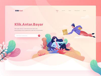 Cash on Delivery Hero web hero minimal clean creation of adam delivery app landing debut illustration