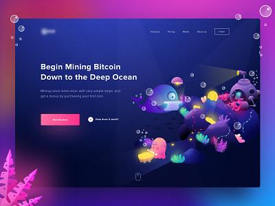 Deep Ocean Mining Hero hero crypto coin currency illustration ocean mining bitcoin wallet blockchain