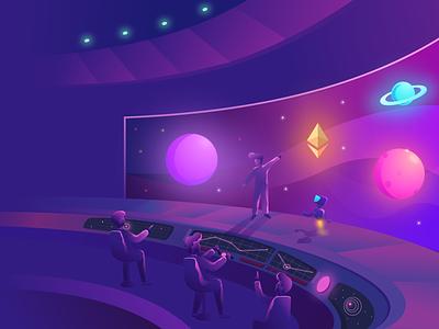 Starship Illustration astronaut galaxy spaceship starship space blockchain mining hero crypto illustration