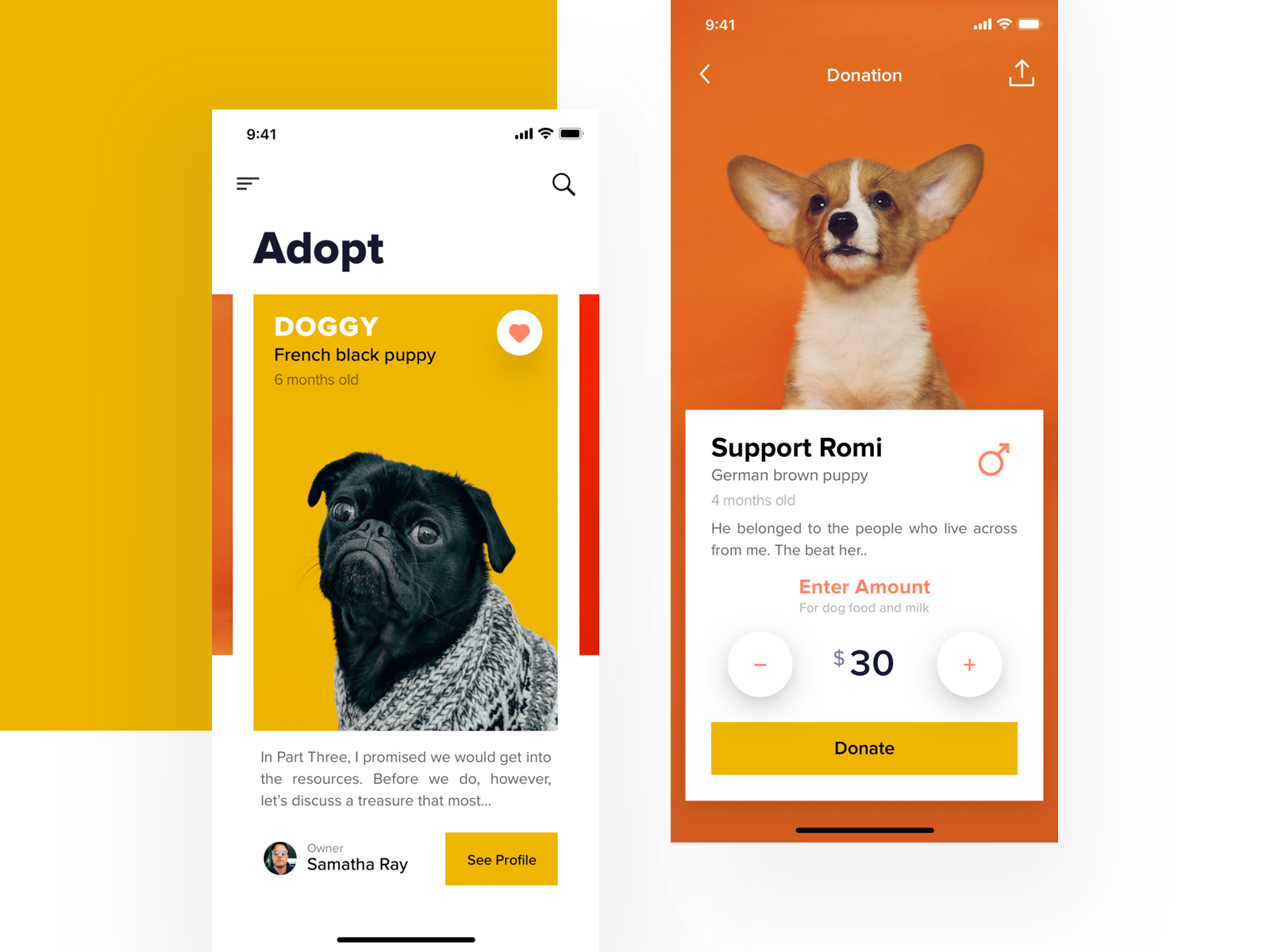 Pets Adoption App minimal clean animal charity app donate donation cat pet dog adopt