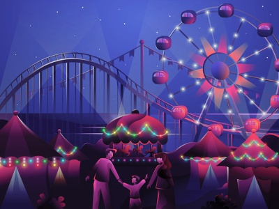Holiday with Family Illustration holiday ferris wheel family carnival happy new year design vector illustration