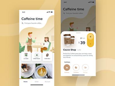 Coffee Delivery Apps card caffeine coffee app coffee mobile design ios minimal ui clean app illustration