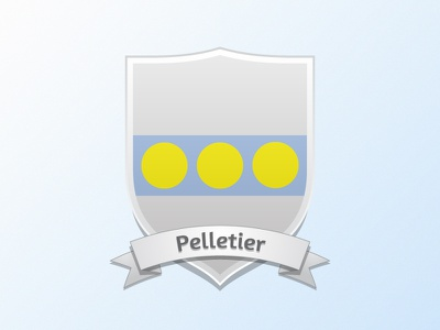 Current Coat of Arms · Pelletier shield coat of arms banner wedding