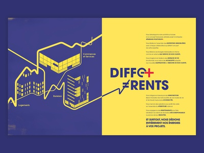 Manifesto. building blue and yellow design lines real estate brochure design print typography vector illustration design
