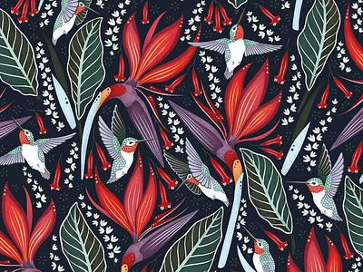 Hummingbirds Pattern illustrator leaves colorful digital art folk art flowers surface pattern design print pattern design vector illustration illustration hummingbird pattern