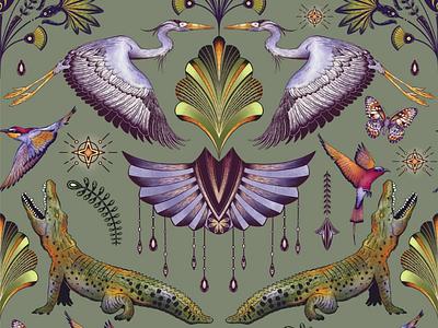 Mystical Nile Pattern art licensing drawing heron elegant illustrator mystical line art surface pattern design pattern crocodile procreate illustration procreate illustration art deco