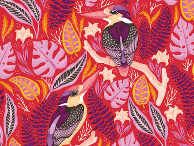 Exotic Kingfishers surface pattern design seamless pattern repeat pattern pattern designer pattern new zealand hot pink kingfisher illustration freelance illustrator colorful art licensing adobe fresco