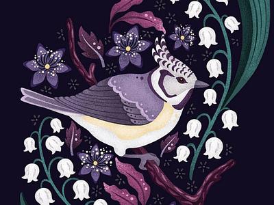Crested Tit leaves animal art licensing cute brushes texture vector flowers floral dark illustration bird fresco