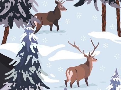 Wapiti Deers art licensing vector art switzerland snow winter pine trees deer illustration deers illustrator art folklore deer surface pattern design nature illustration pattern