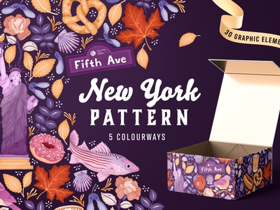 New York Pattern | 5 Colorways vector art texture flowers illustration botanical hand drawn floral colorful statue of liberty packaging creative market digital assets adobe fresco surface pattern design illustration pattern