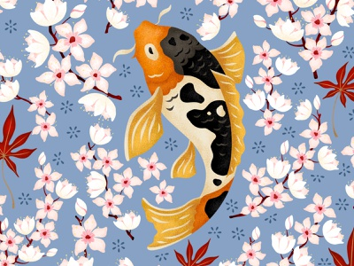 Japanese Pond fish illustration procreate digital artist digital art textile design pond vector art vector illustration japanese culture art licensing flowers pattern surface pattern design texture sakura adobe fresco illustration japanese art japanese style koi fish