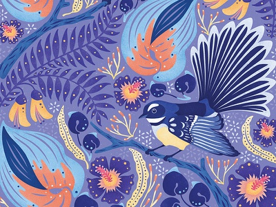 Fantails flowers purple brushes texture new zealand art pattern graphic design design nature birds illustration