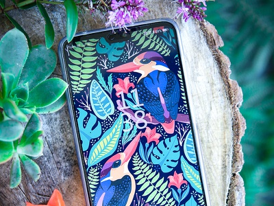 Mobile device and nature huawei p20 pro mobile device foliage flora kingfishers art pattern graphic design design nature birds illustration