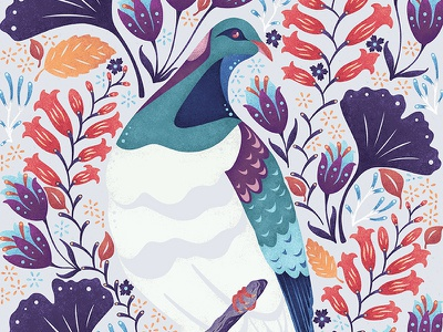 Kereru pigeon flowers brushes texture new zealand art pattern graphic design design nature birds illustration