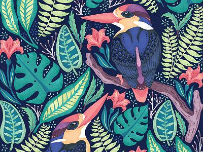 Kingfishers Original Artwork exotic colourful flowers brushes texture new zealand art pattern design nature birds illustration