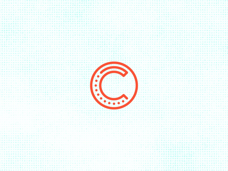 C Circle stroke grid identity icon line minimal branding logo vector typography dots circle c