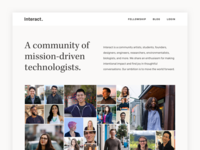 Interact Website grid portfolio blog nonprofit community faces collage minimal ui ux web