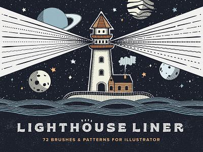 Lighthouse Liner Illustrator Brushes inked illustrator pen planets line sketch pencil liner pattern brushes space vector lighthouse