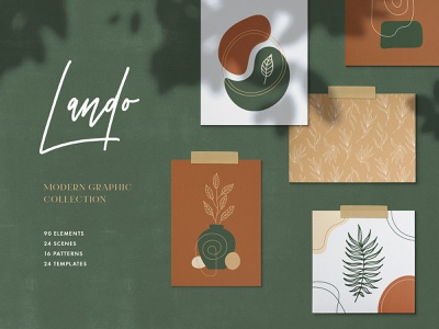 Lando Abstract Graphic Collection seamless stories post instagram organic botanical floral illustration vector shape pattern print geometric lines graphic modern art