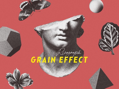 Risograph Grain Effect for Photoshop statue butterfly plants action vintage photocopy screenprint print effect grain texture photoshop shader noise