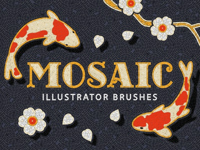 Mosaic Tile Illustrator Brushes fauxsaic illustrator mosaic tile flowers fish koi carp illustration texture brushes pattern vector