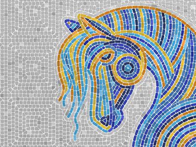 Mosaic Tile Procreate Brushes ipad vintage illustration procreate fauxsaic pattern tile mosaic horse texture brushes
