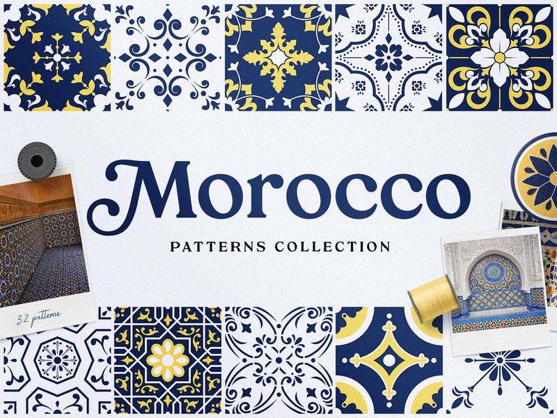 Moroccan Patterns and Ornaments summer blue greeting boho arabian geometric vector ornaments background azulejos tiles portugal islamic morocco seamless pattern