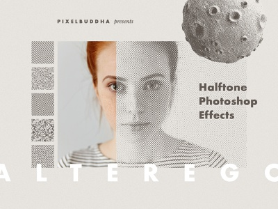 Alter Ego Halftone Photoshop Effect pattern risograph printer vintage retro stipple noise engrave photoshop effect halftone