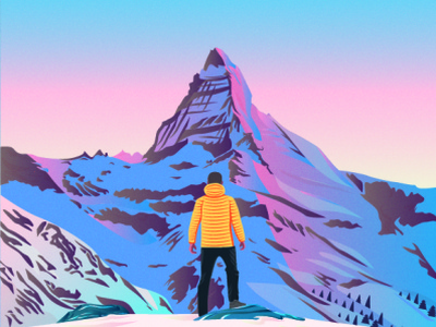 Matterhorn Mount wall art alpinist rock man color cover flat active coloring vector illustration nature mount