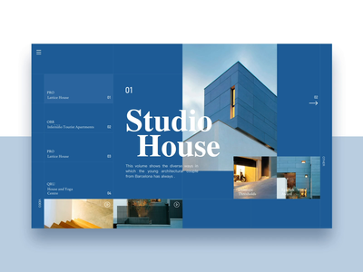 Website animation concept / Studio House design ui website mobility interaction gif video studio house hotel social light typesetting format sofa home experience bauhaus grid system principle after effects