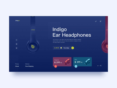 Ear Headphones/Website Animation Concept pop collection wireless beats apple headset sketch bauhaus ux ue animation after effects format gif video principle grid system website ui design headphones