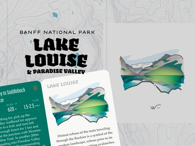 Lake Louise & Paradise Valley gamification wco art dept trail canadian identity landscape vector illustration canadian rockies active guide system vector art maps typography myth hike thewayfindercompany design identity illustration creative direction brand