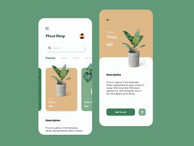 Plant Store Mobile App concept ux typography identity vector branding ui flat app design