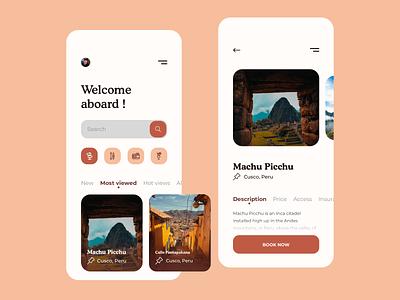 Travel Service Mobile App mobile design illustration ux mobile app design concept typography branding ui flat mobile app design