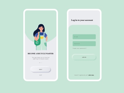 Onboarding Recycle App log in sign up waste recycle neumorphism neumorphic concept vector ui illustrator flat app illustration design