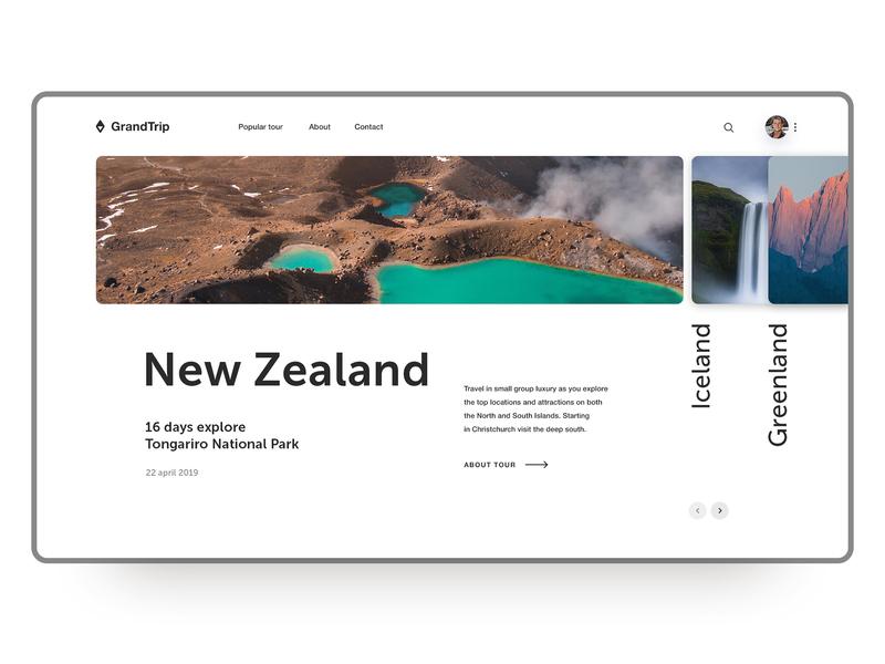 Grand Trip webdesigner webdesign ui  ux user experience design user interface tour new zealand travel web figma design photoshop дизайн вебдизайн