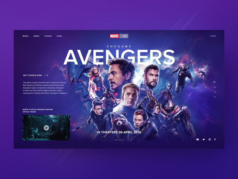 Avengers Endgame user interface design designer ux ui design endgame avengers ui user interface web webdesigner webdesign user experience design ui  ux photoshop figma design вебдизайн