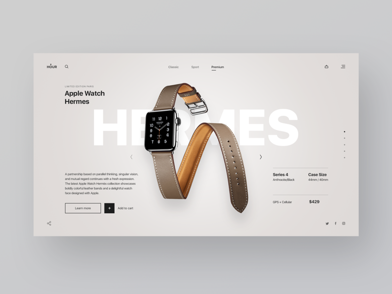 Online watch store watch hermes apple watch concept design figma photoshop ux designer user interface design ui webdesigner webdesign web user interface user experience design ui  ux design