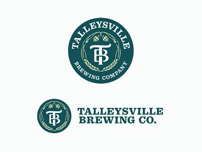 Talleysville Brewing Co. Logo brewery slab serif design logo branding vector monogram hops beer craft craftbeer vine