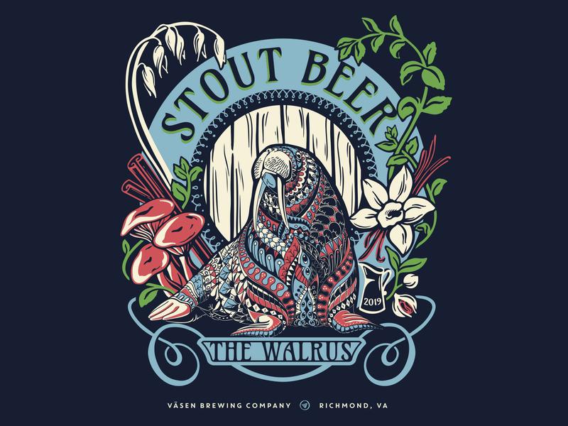 Väsen Brewing - 2019 Walrus Hoodie procreate screenprinting screen printing apparel art nouveau artnouveau stout walrus animal illustration hoodie beer craft beer craftbeer