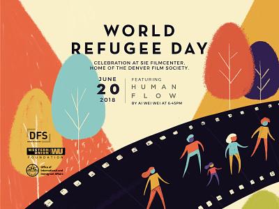 World Refugee Day immigrant denver colorado characters sponsored event community center community flyer wip illustration refugee