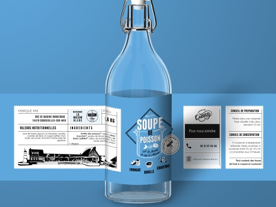 "Label - ""Soupe de Poisson"" - Restaurant La Maison Bleue logotype design print visual identity branding illustration logodesign logo vector typography"