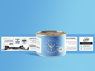 "Label - ""Les Rillettes de maquereau "" - La Maison Bleue logotype design print visual identity branding illustration logo logodesign vector typography"