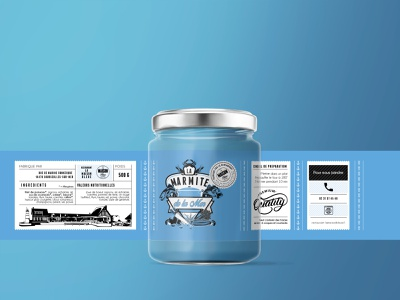 "Label - ""La Marmite de la Mer"" - Restaurant La Maison Bleue product print visual identity branding logotype illustration design logo vector typography"