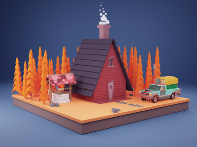 Lowpoly Autumn Cabin low poly minimalist environment modeling 3d blender