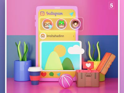 Instagram - 3D UI illustration illustration instagram trending ui uidesign avatars low poly minimalist environment graphics design modeling 3d blender